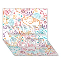 Cute pastel tones elephant pattern YOU ARE INVITED 3D Greeting Card (7x5)