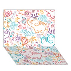 Cute pastel tones elephant pattern Clover 3D Greeting Card (7x5)