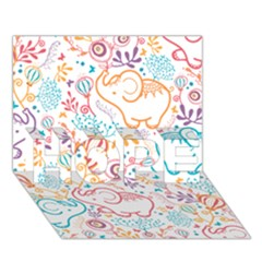 Cute Pastel Tones Elephant Pattern Hope 3d Greeting Card (7x5)