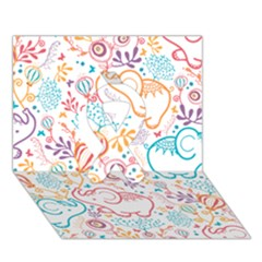 Cute pastel tones elephant pattern Ribbon 3D Greeting Card (7x5)