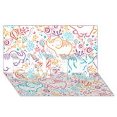 Cute Pastel Tones Elephant Pattern Party 3d Greeting Card (8x4)