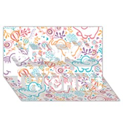 Cute Pastel Tones Elephant Pattern Best Wish 3d Greeting Card (8x4)