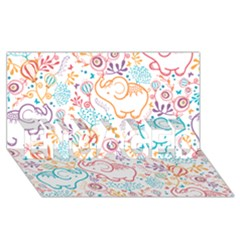 Cute Pastel Tones Elephant Pattern Engaged 3d Greeting Card (8x4)
