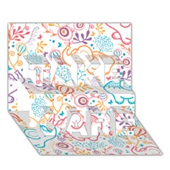Cute pastel tones elephant pattern TAKE CARE 3D Greeting Card (7x5)