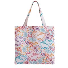 Cute Pastel Tones Elephant Pattern Grocery Tote Bags