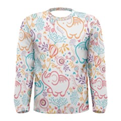 Cute pastel tones elephant pattern Men s Long Sleeve T-shirts