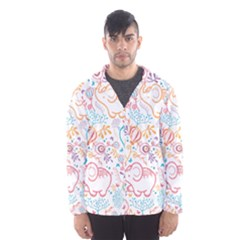 Cute pastel tones elephant pattern Hooded Wind Breaker (Men)