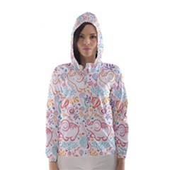 Cute pastel tones elephant pattern Hooded Wind Breaker (Women)