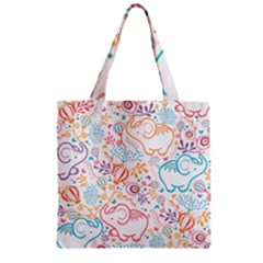 Cute Pastel Tones Elephant Pattern Zipper Grocery Tote Bags