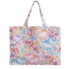 Cute pastel tones elephant pattern Zipper Tiny Tote Bags