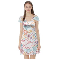 Cute Pastel Tones Elephant Pattern Short Sleeve Skater Dresses