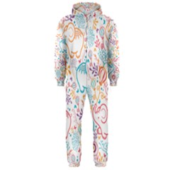 Cute Pastel Tones Elephant Pattern Hooded Jumpsuit (men)
