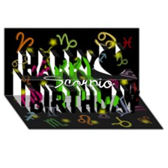 Scorpio Floating Zodiac Name Happy Birthday 3D Greeting Card (8x4)