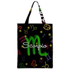 Scorpio Floating Zodiac Name Zipper Classic Tote Bags