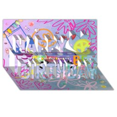Summer Of Love   The 60s Happy Birthday 3d Greeting Card (8x4)