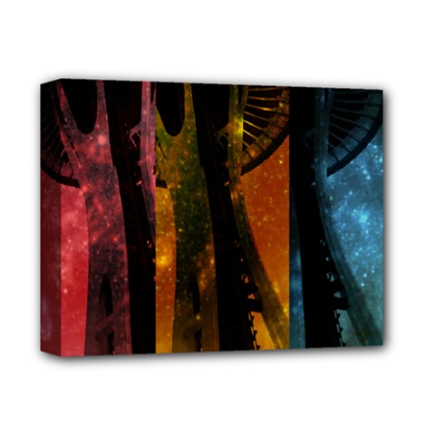 Colorful Space Needle Deluxe Canvas 14  x 11