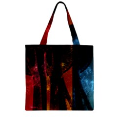 Colorful Space Needle Zipper Grocery Tote Bags