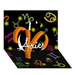 Aries Floating Zodiac Sign Apple 3D Greeting Card (7x5)