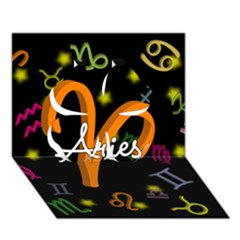 Aries Floating Zodiac Sign Clover 3D Greeting Card (7x5)
