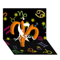 Aries Floating Zodiac Sign Ribbon 3D Greeting Card (7x5)