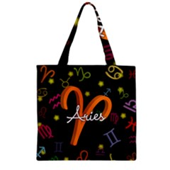 Aries Floating Zodiac Sign Zipper Grocery Tote Bags