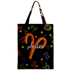 Aries Floating Zodiac Sign Zipper Classic Tote Bags