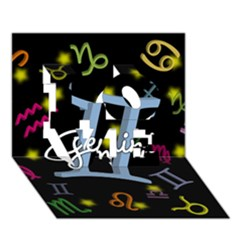 Gemini Floating Zodiac Sign Love 3d Greeting Card (7x5)