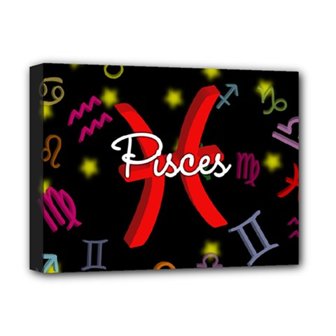 Pisces Floating Zodiac Sign Deluxe Canvas 16  x 12