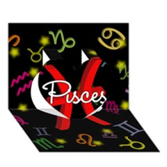 Pisces Floating Zodiac Sign Heart 3D Greeting Card (7x5)