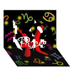 Pisces Floating Zodiac Sign LOVE 3D Greeting Card (7x5)
