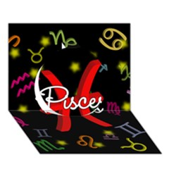 Pisces Floating Zodiac Sign Circle 3D Greeting Card (7x5)