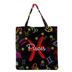 Pisces Floating Zodiac Sign Grocery Tote Bags