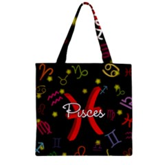 Pisces Floating Zodiac Sign Zipper Grocery Tote Bags