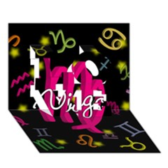 Virgo Floating Zodiac Sign LOVE 3D Greeting Card (7x5)