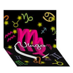 Virgo Floating Zodiac Sign Heart Bottom 3D Greeting Card (7x5)