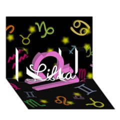Libra Floating Zodiac Name I Love You 3D Greeting Card (7x5)
