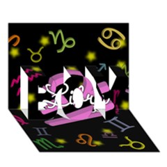 Libra Floating Zodiac Name BOY 3D Greeting Card (7x5)