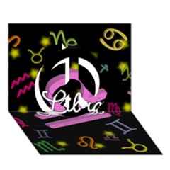 Libra Floating Zodiac Name Peace Sign 3D Greeting Card (7x5)