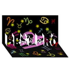 Libra Floating Zodiac Name BEST BRO 3D Greeting Card (8x4)