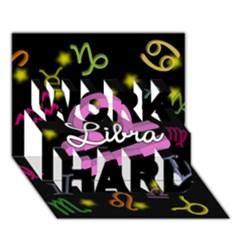 Libra Floating Zodiac Name Work Hard 3d Greeting Card (7x5)
