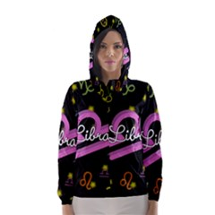 Libra Floating Zodiac Name Hooded Wind Breaker (Women)