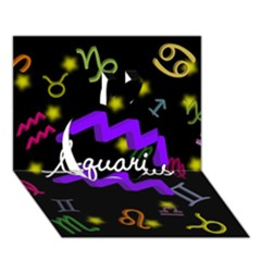 Aquarius Floating Zodiac Name Apple 3D Greeting Card (7x5)