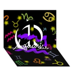 Aquarius Floating Zodiac Name Peace Sign 3D Greeting Card (7x5)