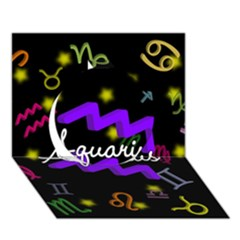 Aquarius Floating Zodiac Name Circle 3D Greeting Card (7x5)