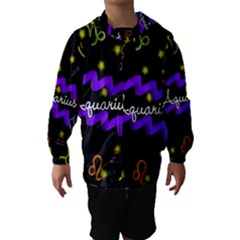 Aquarius Floating Zodiac Name Hooded Wind Breaker (Kids)