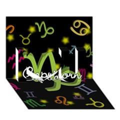 Capricorn Floating Zodiac Name I Love You 3D Greeting Card (7x5)