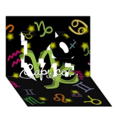 Capricorn Floating Zodiac Name LOVE 3D Greeting Card (7x5)