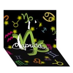 Capricorn Floating Zodiac Name Apple 3D Greeting Card (7x5)