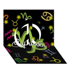 Capricorn Floating Zodiac Name Peace Sign 3d Greeting Card (7x5)