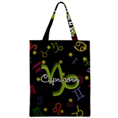 Capricorn Floating Zodiac Name Zipper Classic Tote Bags